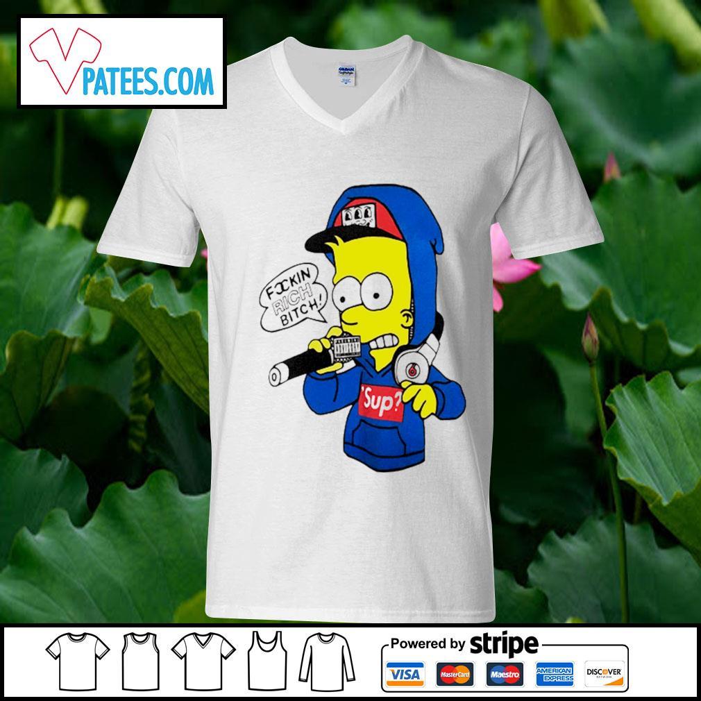 Bart Simpsons rich bitch sup s v-neck t-shirt