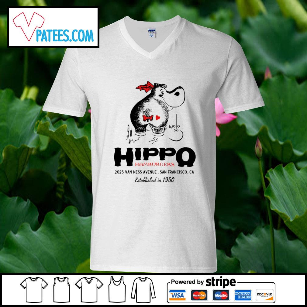 Hippo hamburgers 2025 van ness avenue San Francisco s v-neck t-shirt